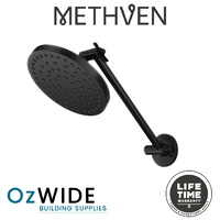 Methven Krome 150 mm Matte Black Hi Rise Shower Arm and Rain Head Swivel Design